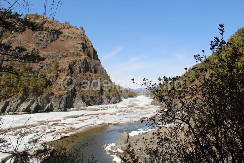 великолепный вид слияния двух рек Чемал и Катунь